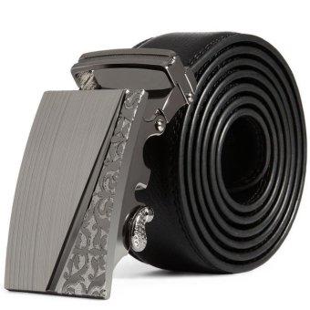 Men Leather Automatic Buckle Belts Fashion Waist Strap Belt Waistband (Intl)