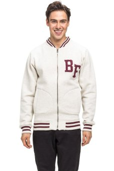 Bellfield Men's Zip Through Baseball Sweatshirt White