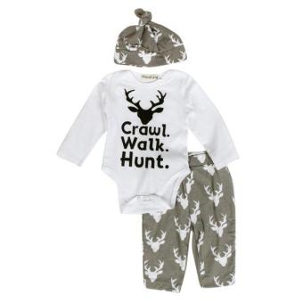 Newborn Infant Baby Outfit Clothes Print Romper Tops+Long Pants +Hat - intl
