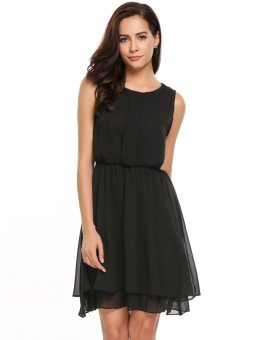 Cyber Women Casual Sleeveless Solid O Neck Chiffon Tunic Tank Dress ( Black ) - intl