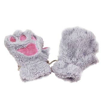 1 Pair Cute Women Bear Cat Paw Pattern Cashmere Half-finger Winter Gloves Gray - Intl