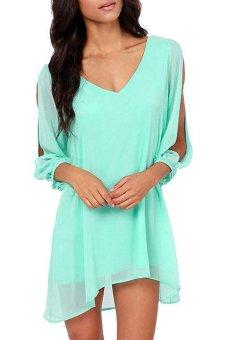Cyber Women V-Neck Split Long Sleeve Chiffon Casual Loose Mini Dress (Green) - Intl