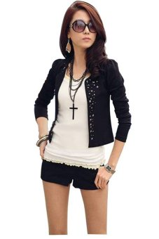 Women Coat Suit OL Long Sleeve Rivet Lady Short Jacket Black - Intl