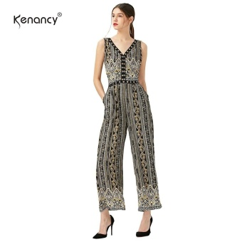 Kenancy Fashion Printing Jumpsuit V-Neck Midriff Elasticity Waist Loose Broad Leg Romper Jumpsuit Plus Size(Black) - intl