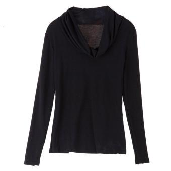 Casual Plunging Neck Long Sleeve Solid Color Slimming Women's T-Shirt - intl