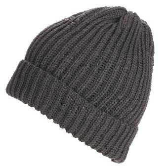 Unisex Solid Color Vertical Stripe Thick Beanie Knitted Warm Fall Winter Ski Cap Hat Deep Grey - Intl