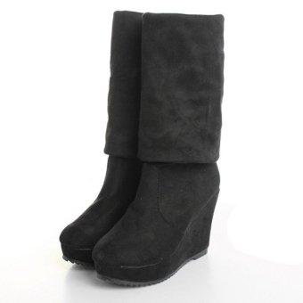 2016 Winter Sexy Women Wedges Over the Knee Boots Pump High Heels Platform Shoes Black - intl