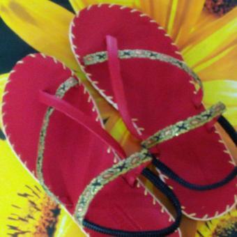 Sandal thổ cẩm nữ xỏ ngón (Đỏ) TFW8533 #40