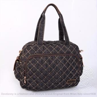 Túi xách tay nữ lớn màu đen sọc chéo gấu Dav Danny dành cho bạn gái - DD164K3007