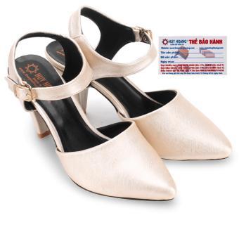 HL7096 - Giày nữ Huy Hoàng cột dây hở gót đế 9cm màu kem