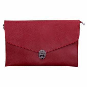 Women Messenger Lock PU Leather Crossbody Shoulder Clutch Bag (Red) - intl