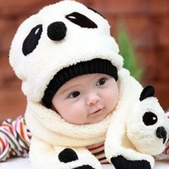 Winter Toddler Girl Boy Cute Panda Hat Scarf Set Fleece Beanie Warm Cap Unisex Two-Piece Set - Intl
