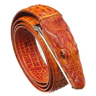 Men's Alligator Design Crocodile-Embossed Leather Belts Genuine Cow Leather Belt - intl