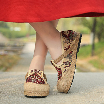 Woman Linen Traditional Cloth Slip On Flat Shoes Vintage Style Straw Plaited Article Shoes - intl