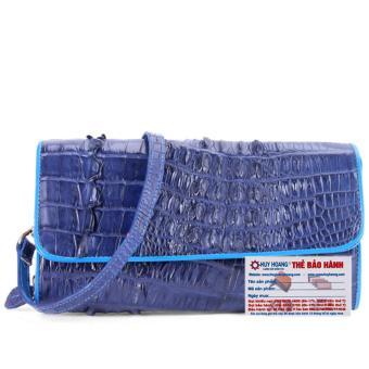 HL6253 - Túi xách nữ da cá sấu đeo chéo 2 gai màu xanh đậm