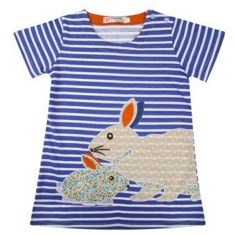 Girls Summer Rabbit Cartoon Printed Dress - intl