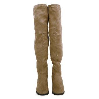 Retro Pure Color Suede Elastic Ladies Knee Boots(Khaki) - intl