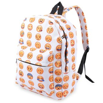 Cute Smile Face Print Canvas Portable Bag Backpack(Off-White) - intl