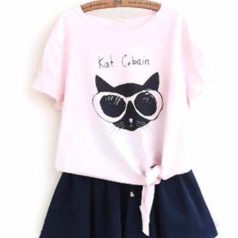 Áo Thun Nữ Hình Mèo Kat Cobain LTTA82 (Hồng)