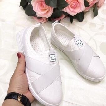 Giày sneaker nữ dây chéo - GiayKS - KS002 (trắng)