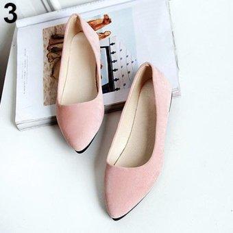 Bluelans Women's Fashion Slip-on Metal Decor Elegant Pointed Toe Shoes 5 (Pink) - intl