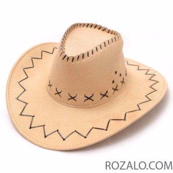 Mũ rộng vành nam kiểu cao bồi da lộn Rozalo RM2807B - Be
