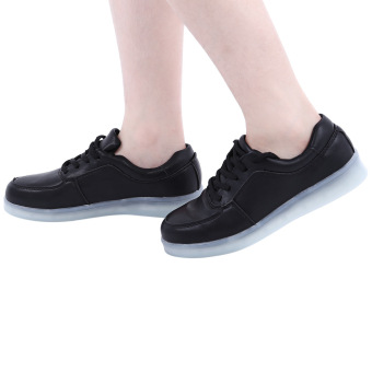 Casual Lace Up LED Male USB Charged Luminous Sneakers(Black) - intl