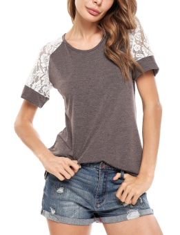 Cyber Women Casual Knit Short Lace Hollow Out Sleeve Patchwork Elastic T-Shirt ( Brown ) - intl