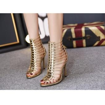 Giày cao gót xương cá ánh kim S366 (Vàng)