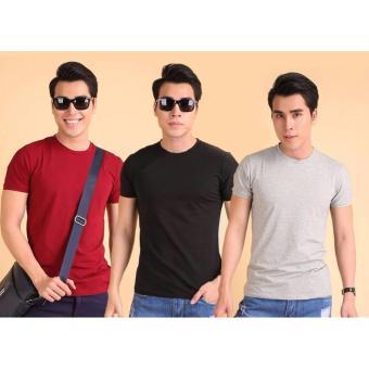 Bộ 3 áo thun nam body cổ tròn ( đen, xám, đỏ đô )