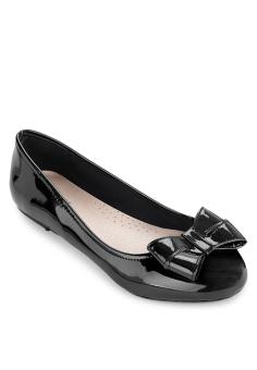 Giày Búp Bê Mũi Tròn Nơ To (Đen)