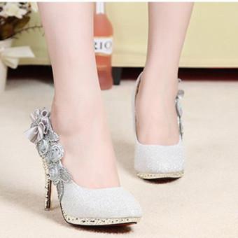 8CM Women Bridal Wedding High Heels Glitter Flowers Shoes Crystal Dance Party - Intl