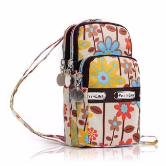 Elegant Mini Mobile packet phone bag purse imported nylon & polyester wristlets Flower - intl