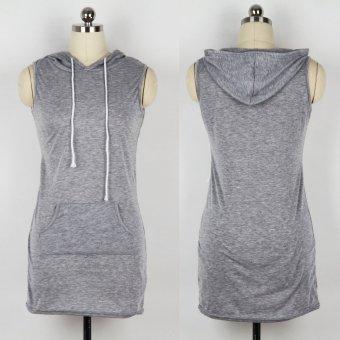 Woman Sport Dress Slim Tie Hip Package Hooded (Gray) - Intl
