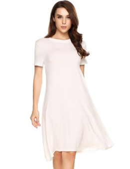 Cyber Women Casual Cutout Back Short Sleeve Solid O Neck Pullover Swing T-shirt Loose Dress ( White ) - intl