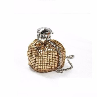 Lady Bucket Handbag Mini Aluminum Shoulder Bag Evening Party Bling Clutch Purse Gold - intl