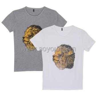 Bộ 2 Áo Thun Nam Cổ Tròn Họa Tiết Lion 2MEN TOP 040 G W