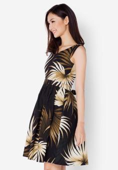Đầm canvas họa tiết hoa màu đen Cirino