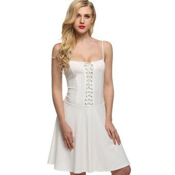 Cyber Finejo Women Spaghetti Strap Lace Up Slim Pleated Party Dress (White) - Intl - Intl