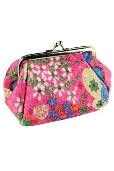 Bluelans Women Embroidered Case Wallet Card Keys Pouch Coin Purse Rose-Red (Intl)