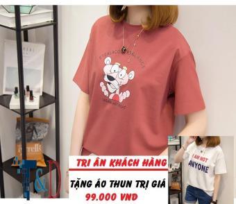Áo Thun Nữ In Hình Glance Cá Tính D363 Trần Doanh ( Màu Đỏ ) + Tặng Áo Thun In Hình T&D Cao Cấp
