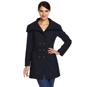 Cyber ACEVOG Women Fashion Slim Casual Envelope Collar Double Breasted Wool Blend Trench Coat(Navy Blue) - Intl