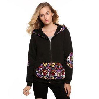 Cyber Zeagoo Women Casual National Style Pattern Patchwork Hooded Sweatshirt Top Hoodies ( Black ) - Intl