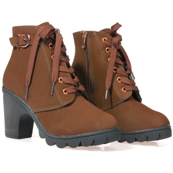 Lady Chunky Block High Heel Ankle Boots Winter Nubuck Buckle Martin Boot Shoes Brown - Intl