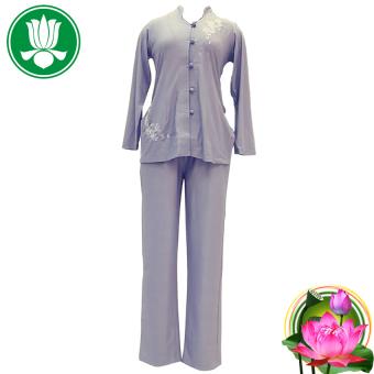 Bộ 1 áo và 1 quần pháp phục Phật tử nữ tay dài (Lam)