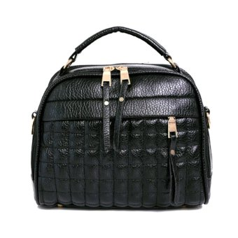 Fasion PU Leather Rhombus Papaw Shoulder Bag Crossbody Bag (Black) - intl