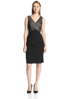 Đầm đen cao cấp Nine West Women's Sleeveless V Neck Surplice Sheath Dress (Mỹ)