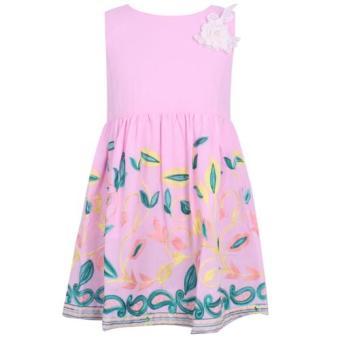 Đầm bé gái tùng thêu hoa hồng phấn BG60701 4-14Y