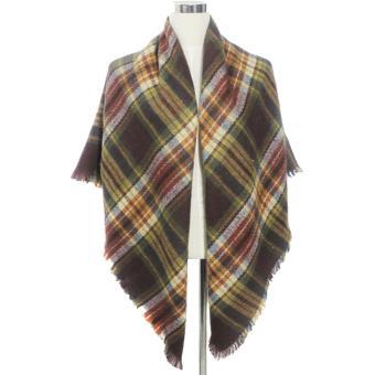 Women Ladies Simulation Cashmere Shawl Fashion Winter Warm Lattice Tassel Long Scarf Style C - intl