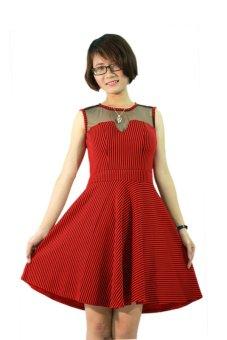 Đầm xòe sọc điệu đà Siêu Thị Tuổi Teen TT23 (đỏ đô)